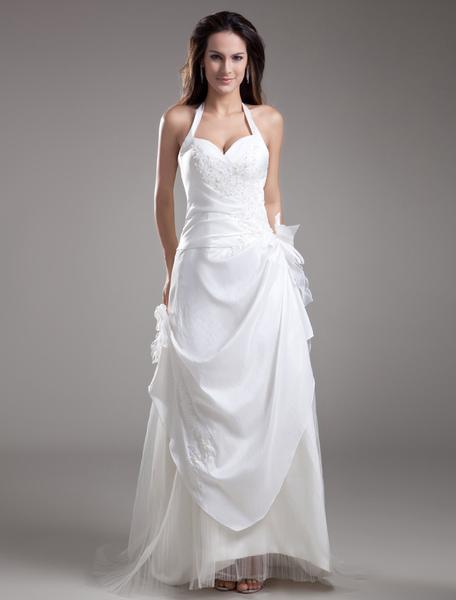 White A-line Halter Bow Embroidered Taffeta Bridal Wedding Dress фото