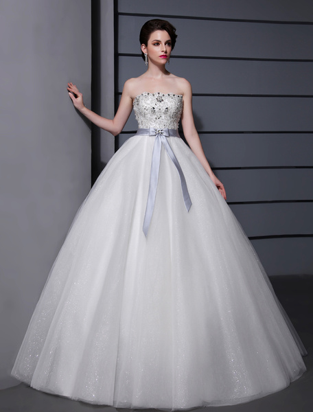 White Ball Gown Strapless Bow Beading Tulle Bride's Wedding Dress Milanoo