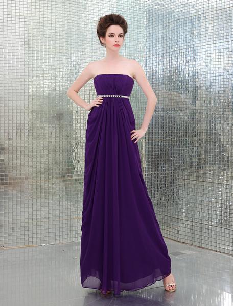 Attractive Royal Purple A-line Beading Chiffon Prom Dress Milanoo