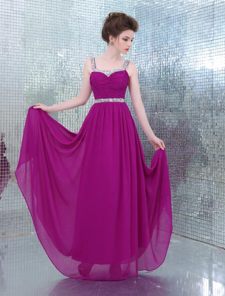 Lilac Straps Neck A-line Beading Chiffon Pretty Prom Dress