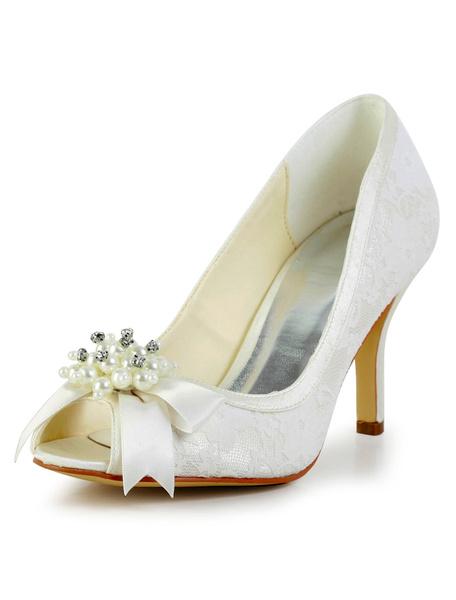 Great Ecru White Peep Toe Stiletto Heel Silk And Satin Shoes for Bride Milanoo