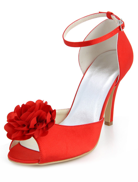 Red Antique Design Satin Chic Women's Evening Shoes фото