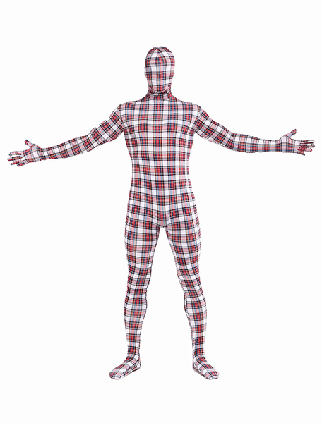 Halloween Lycra Spandex Plaid Full Body Unisex Stylish Multicolor Zentai Suits фото