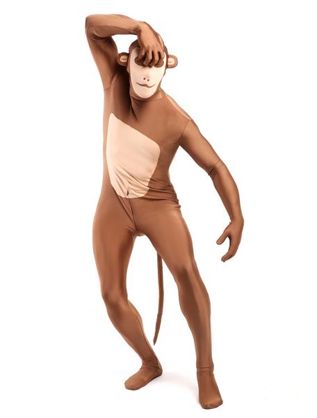Light Brown Monkey Zentai Suit Halloween Animal Full Bodysuit фото
