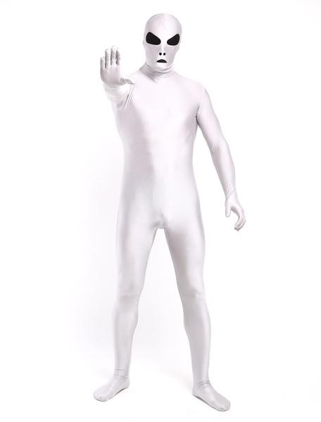 Halloween Chic White Lycra Spandex Alien Full Body Unisex Stylish Multicolor Zentai Suits фото
