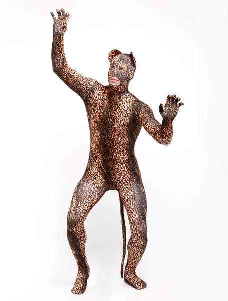 Halloween Trendy Lycra Spandex Leopard Print Open Eyes Unisex Sweet Lycra Animal Zentai Suits фото