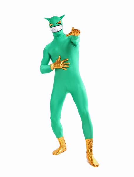 Halloween Vivid Green Demon Full Bodysuit Lycra Spandex Zentai Suits Costume Cosplay фото