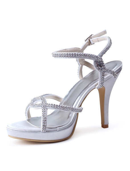 Sexy Ecru White Rhinestone Stiletto Heel Silk And Satin Dress Sandals фото