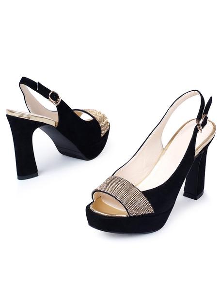 Milanoo / Negro Peep Toe Rhinestone zalea gamuza elegantes zapatos para mujer