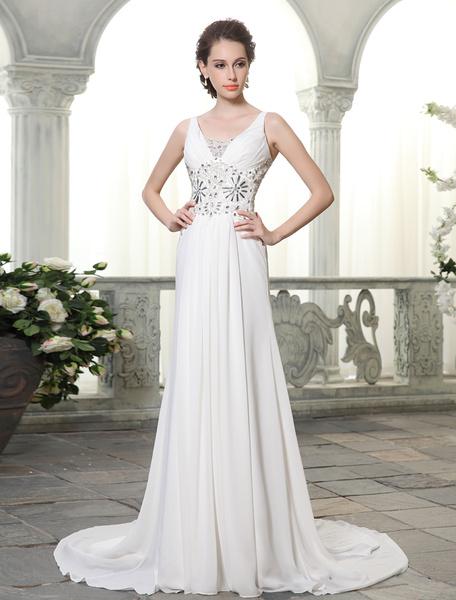 Court Train Ivory Sheath V-Neck Beading Chiffon Brides Wedding Dress Milanoo фото