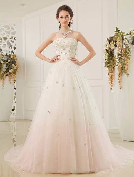 A-line Strapless Strapless Sequin Tulle Ivory Brides Wedding Dress Milanoo фото