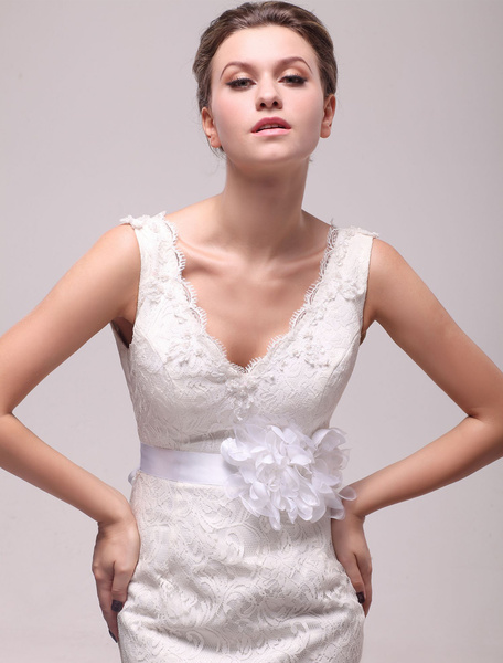 White Flower Medium Wedding Sash For Bride фото