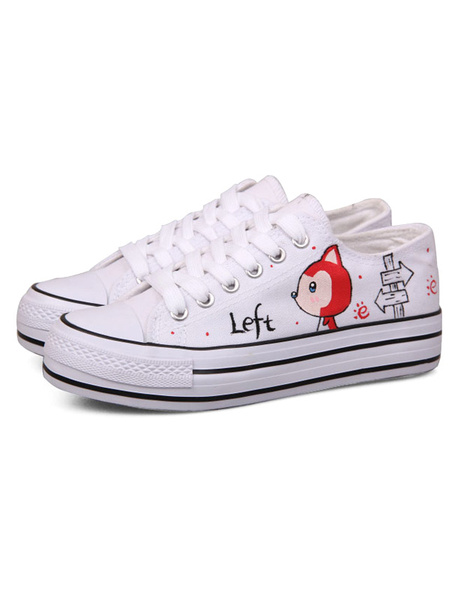 White Round Toe Lace Up Cartoon Printed Canvas Stylish Women's Sneakers фото