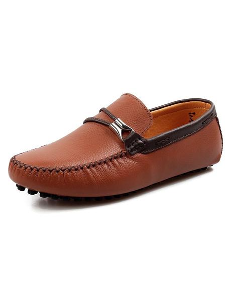Мужская кожа мокасины круглый носок переключения мокасины