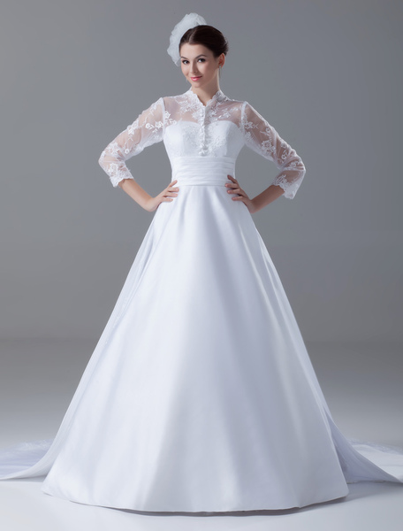 Court Train White Ball Gown Lace Bridal Wedding Gown with High Collar фото
