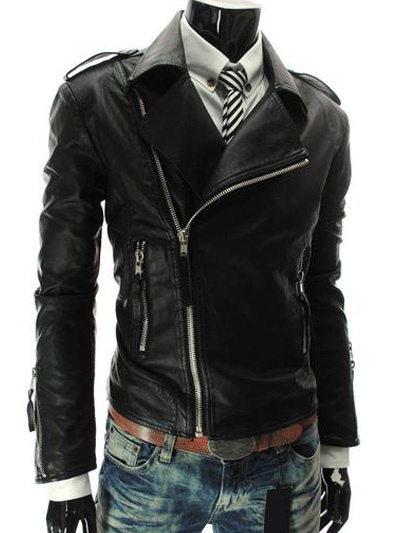 Fashion Solid Color Zipper PU Leather Men's Leather Jacket