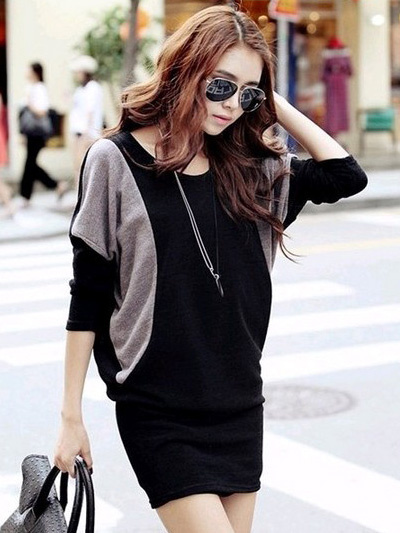 Modern Black Two-Tone Crewneck Cotton Blend Oversized Women's Knitted Dress