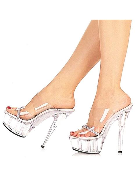 Milanoo / Zapatillas de PVC transparente con diamante de imitación de tacón alto de estilo sexy
