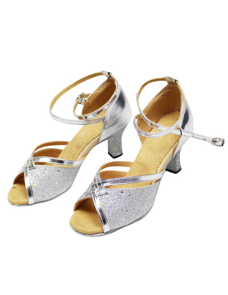 Peep Toe Sequins Latin Dance Sandals Ballroom Shoes