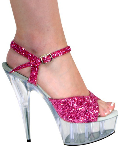 Rose Red Sequin Glitter Peep Toe Sequined Cloth Sexy Sandals For Woman фото