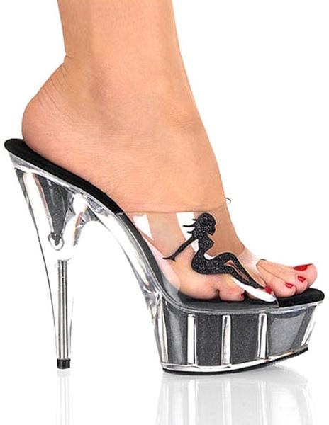 Transparent Platform Sandals Peep Toe PVC Heels фото