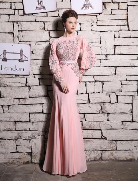 Abend Kleid Meerjungfrau rosa Perlen Strass Prom Kleid Milanoo
