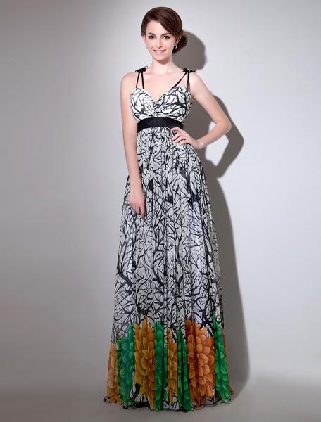 Abendkleid aus Chiffon mit Printmuster  Milanoo