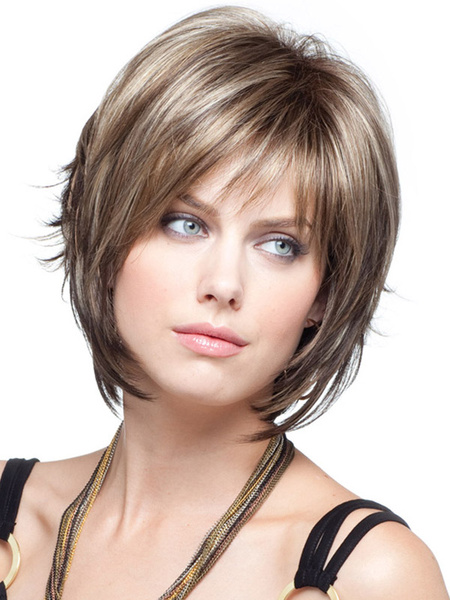Light Brown Straight Short Wig For Woman