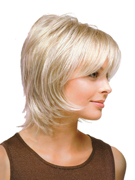 Natural Ivory Straight Women's Short Wig Milanoo