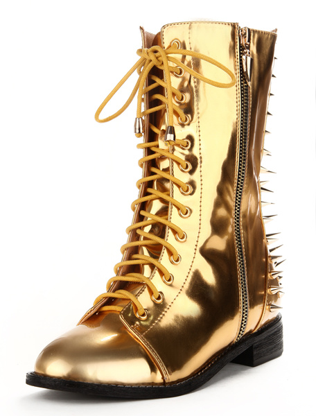 Attractive Gold Spikes Metallic PU Leather Lace Up Boots For Women