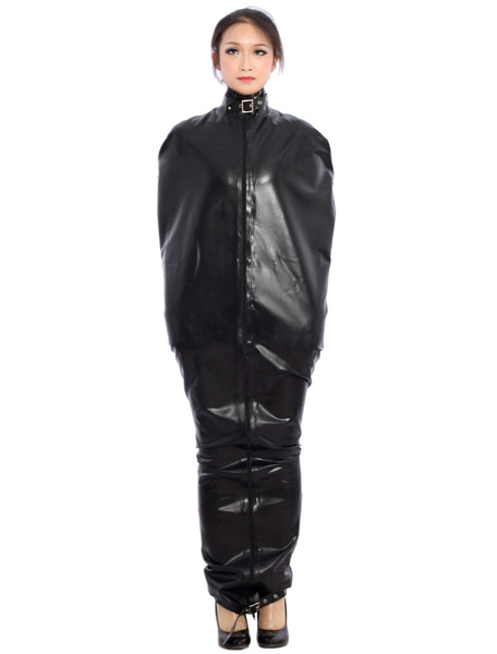 Halloween Special Buckle Black Latex Catsuit фото
