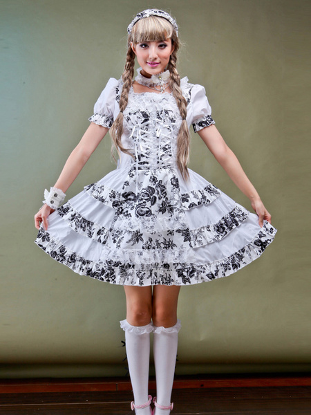 Cotton Blend Short Sleeves Square Neck Bow Lolita One-Piece фото