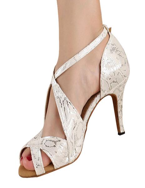 Silver Peep Toe Metallic Criss-Cross Silk And Satin Stylish Latin Shoes фото