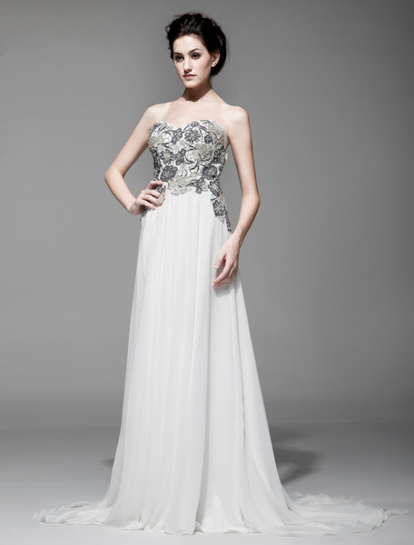 Applique Strapless Sleeveless A-line Chiffon Evening Dress For Women