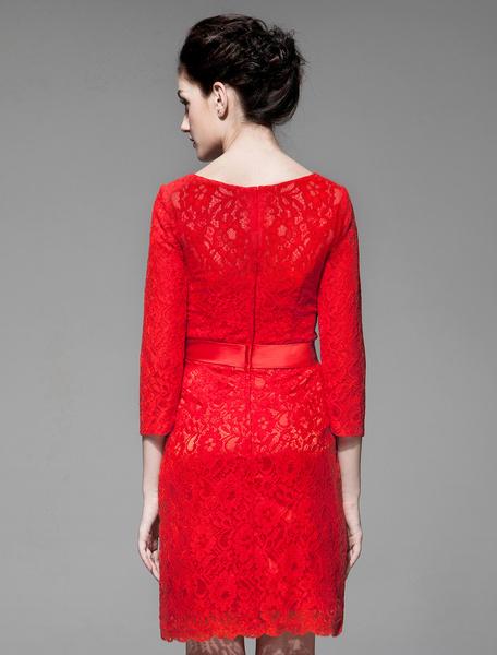 Milanoo / Vestido para la madre de los novios de encaje rojo con escote redondo