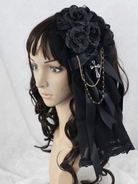 Black Flower Great Mesh Lolita Headdress фото