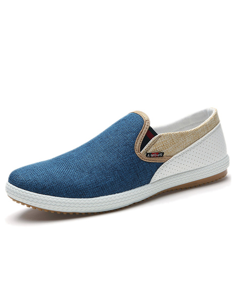 Two Tone Loafers Men's Round Toe Slip On Loafers фото