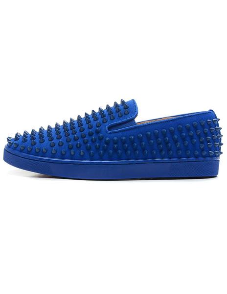 Платформе мужские мокасины круглый носок скольжения на заклепки Спайк обувь