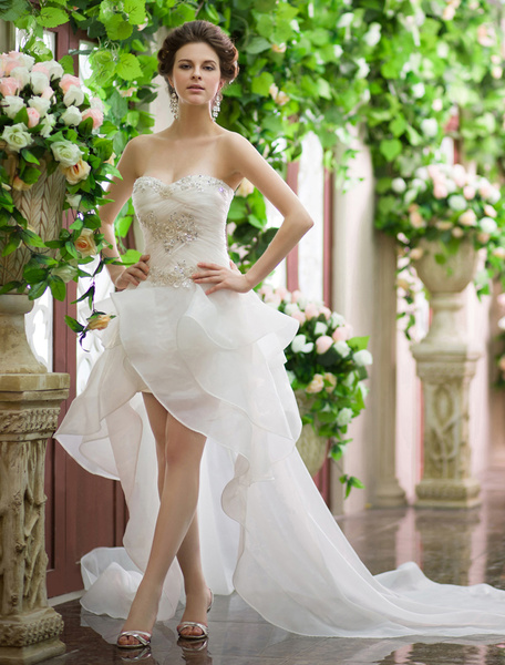 Ivory A-line Sweetheart Neck Beach Wedding Dress Milanoo фото