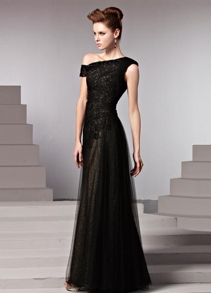 Black One-Shoulder Beading Sheath Sleeveless Women's Evening Dress фото