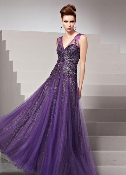 Grape V-Neck Applique Sheath Matte Satin Women's Evening Dress