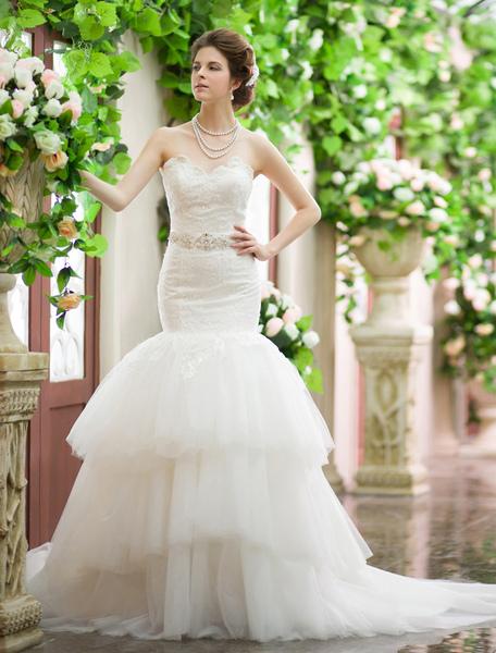 Ivory Mermaid Sweetheart Neck Tiered Satin Wedding Dress With Court Train Milanoo фото