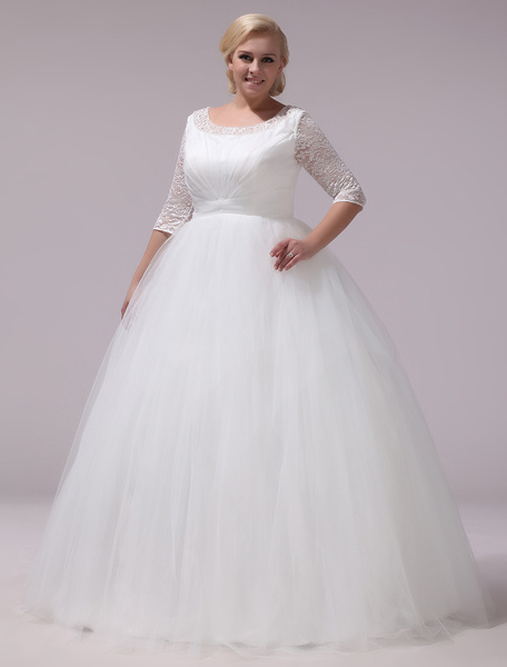 Plus Size Wedding Dress Tulle Lace Half Sleeve Bridal Gown Ivory A Line Round Neck Back Design Floor фото