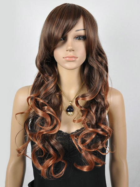 Brown Full-Volume Curls Synthetic Urban Chic Long Wig Milanoo