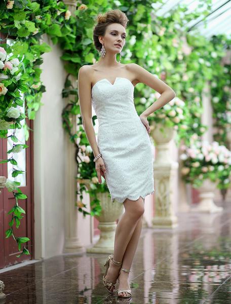 Ivory Sheath V-Neck Beading Tulle Knee-Length Wedding Reception Dress Milanoo фото