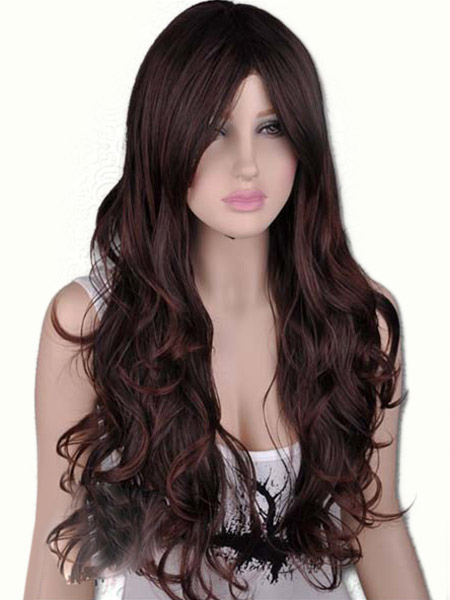 Urban Brown Synthetic Centre Parting Fashion Long Wig