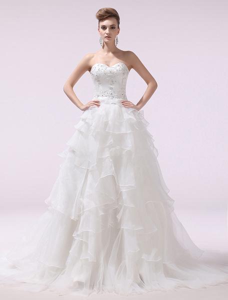 Ivory A-line Sweetheart Beading Organza Bridal Wedding Gown Milanoo фото