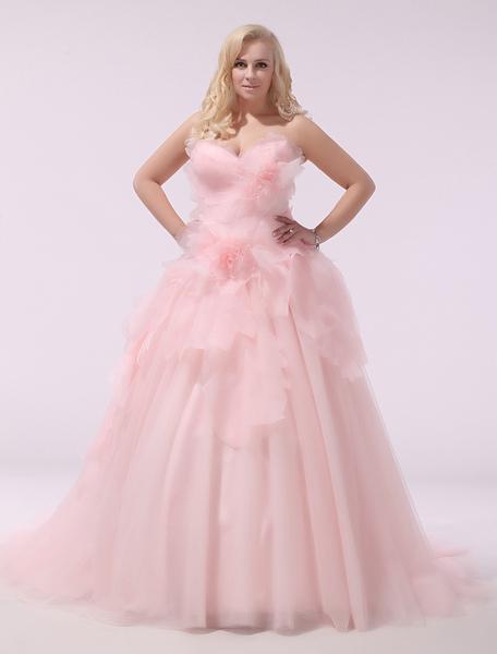 Plus Size Wedding Dress Pink Organza Bridal Gown Sweetheart ...