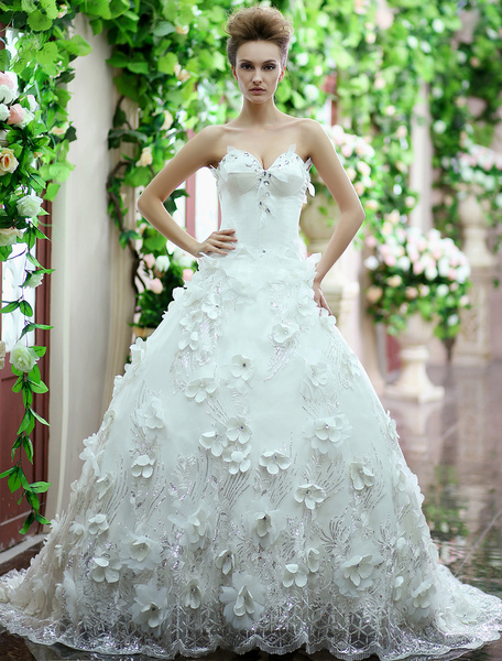 Ivory A-line Sweetheart Rhinestone Sweep Satin Wedding Dress Milanoo фото