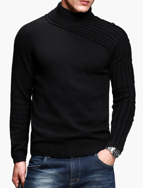 Умный высокий воротник плиссированные сплошной цвет асимметричный хлопок мужской пуловер свитер